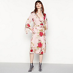 94cab270d MW by Matthew Williamson - Pink floral print full length wrap dress