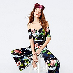 Richard Quinn - Dark blue floral print satin Bardot neck full length jumpsuit