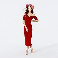 Richard Quinn - Red velvet bow Bardot neck midi dress