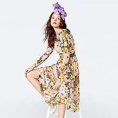Richard Quinn - Yellow floral print mesh round neck long sleeve midi dress