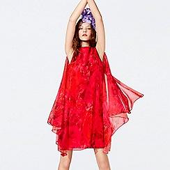 Richard Quinn - Cerise floral print chiffon high neck mini shift dress