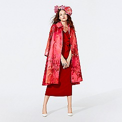 Richard Quinn - Cerise floral print satin cocoon coat