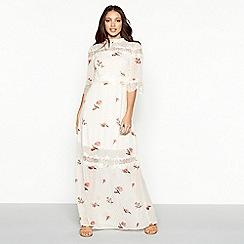 Vila - White floral print lace chiffon high neck short sleeve maxi dress