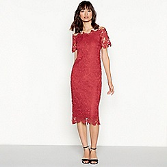 Vila - Red floral lace Bardot neck dress