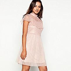 Vila - Rose lace high neck short sleeve mini dress