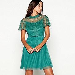 Vila - Green lace high neck short sleeve mini dress