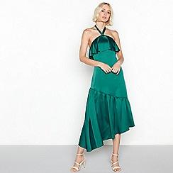 Vila - Green satin frill halterneck high low dress