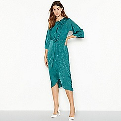 Vila - Green 'Viliva' leopard pattern 3/4 sleeve knot dress
