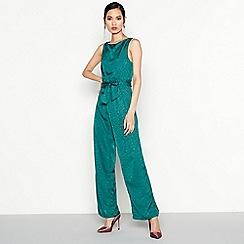 Vila - Green Knot Front Leopard Print Jumpsuit