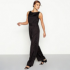 Vila - Black leopard print sleeveless jumpsuit
