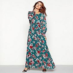 Vila - Green floral print high neck long sleeve maxi dress