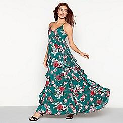 Vila - Green floral print V-neck full length maxi dress