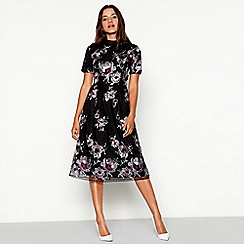Vila - Black floral embroidered mesh high neck short sleeve midi dress