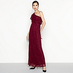 Vila - Purple Floral Lace One Shoulder Maxi Dress