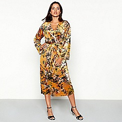 Vila - Mustard floral print velvet V-neck long sleeve midi wrap dress