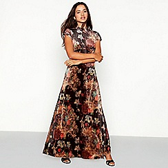 Vila - Black floral print velvet high neck short sleeve full length dress