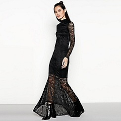 Vila - Black Fishtail Lace 'Virigmor' Maxi Dress