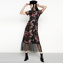 Vila - Black Floral Sequin and Mesh 'Viragna' Maxi Dress