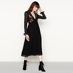Vila - Black 'Vilinny' floral embroidered long sleeve midi dress