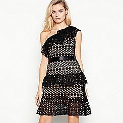 Vila - Black lace 'Vicory' knee length one shoulder dress
