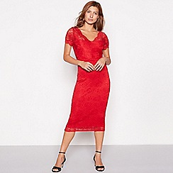 Vila - Red lace 'Virandy' short sleeve midi bodycon dress