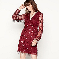 Vila - Burgundy 'Viglits' long sleeve V-neck dress