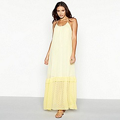 Vero Moda - Pale yellow chiffon round neck maxi dress