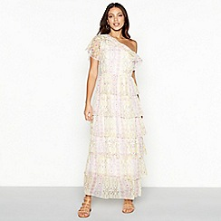 Vero Moda - White floral print chiffon asymmetric neck short sleeve maxi dress