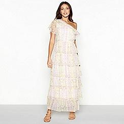 Vero Moda - White floral print chiffon asymmetric neck short sleeve maxi dress