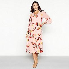Vero Moda - Pink floral print chiffon 'Katy' V-neck midi smock dress