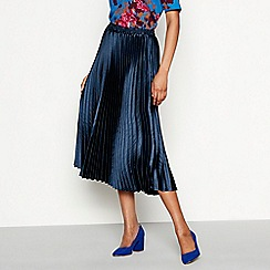 YAS - Navy pleated plisse 'Karen' midi skirt