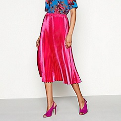 YAS - Bright pink pleated plisse 'Karen' midi skirt