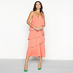 YAS - Coral tiered V-neck midi dress