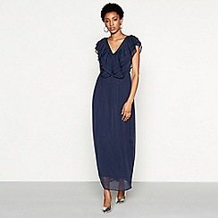 YAS - Navy chiffon V-neck full length evening dress