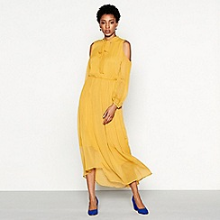 YAS - Yellow chiffon high neck cold shoulder maxi dress