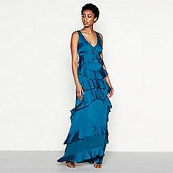 YAS - Blue ruffle 'Gaya' V-neck full length evening dress