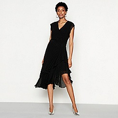 YAS - Black spot mesh 'Flamina' V-neck high low dress