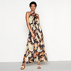 YAS - Multi-coloured floral stripe print 'Ricci' high neck maxi dress