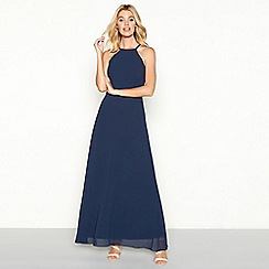 YAS - Navy chiffon 'Jodie' high neck full length evening dress