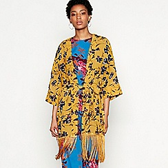 YAS - Mustard floral print chiffon 'Glory' kimono