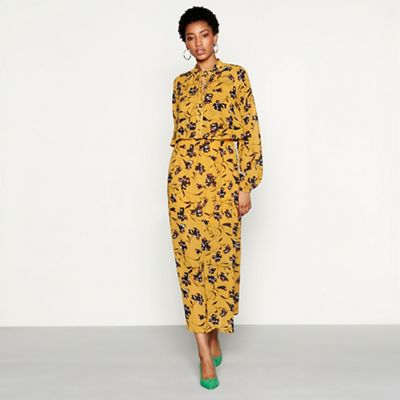 Yas   Mustard Floral Print Chiffon 'glory' High Neck Long Sleeve Midi Dress by Yas