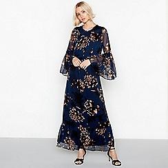 YAS - Dark blue floral print chiffon round neck long sleeves maxi dress