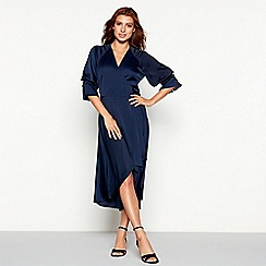 YAS - Navy satin 'Yarissa' V-neck high low wrap dress