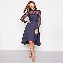 YAS - Dark blue lace 'Yaspretty' high neck long sleeve occasion dress
