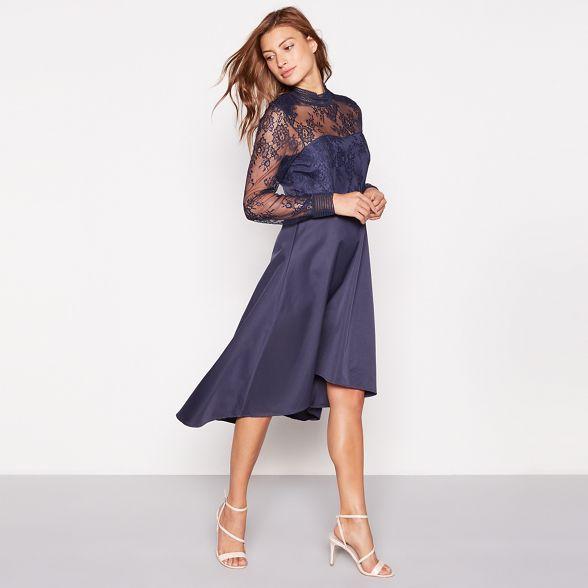 lace long neck sleeve high occasion blue 'Yaspretty' YAS dress Dark EnqCZZ