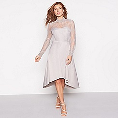 YAS - Silver lace 'Yaspretty' high neck long sleeve occasion dress