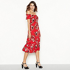 YAS - Red floral print 'Yasroma' midi summer dress