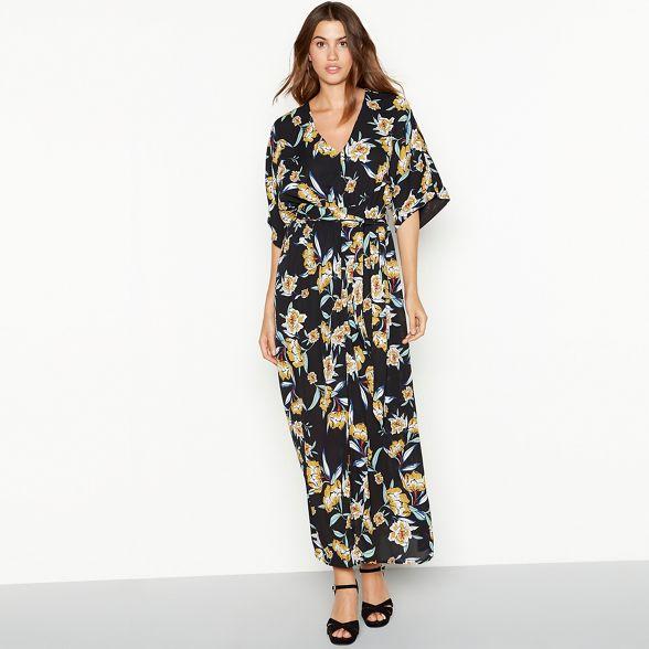 YAS floral maxi Black print dress 'Yasroma' qBwaq4