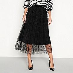 YAS - Black 'Charlotte' polka dot mesh layered midi skirt