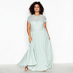 Debut - Pale Green 'Olivia' Floral Plus Size Lace Maxi Dress